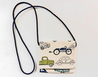 Classic Car cross-body pouch  velcro closure