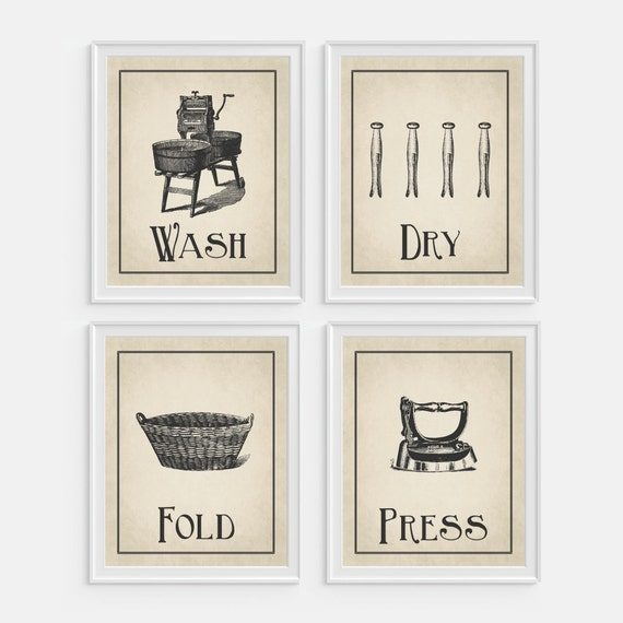Laundry room wall art print 39 wash dry fold press 39 set for Etsy dining room wall art