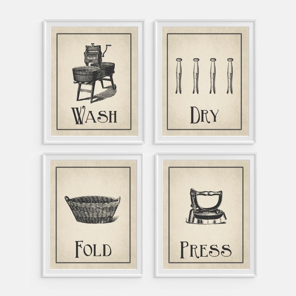 Laundry room wall art print 39 wash dry fold press 39 set for Laundry room wall art