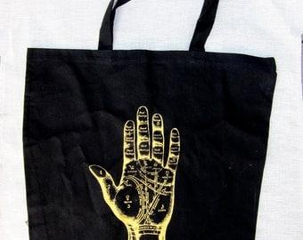 Black tote bag psychic palmistry hand market bag
