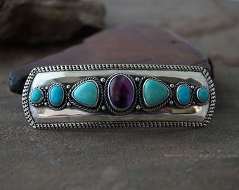 3 inch Amethyst and Sleeping Beauty Turquoise Sterling Silver Hair Barrette ... Made to Order