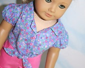 18 Inch Doll (like American Girl)  Periwinkle and Pink Floral Puff Sleeve Tie-Front Blouse with Pink Cuffed Shorts