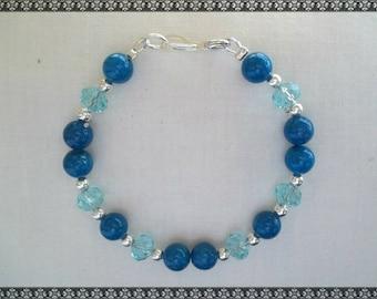 Swarovski bracelet, blue bracelet, crystal bracelet, light blue, silver