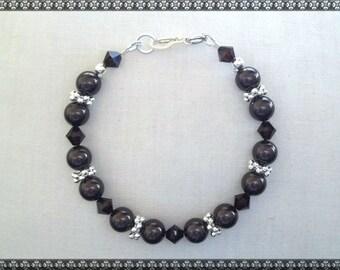 brown bracelet, Swarovski bracelet, dark brown bracelet, silver, swarovski