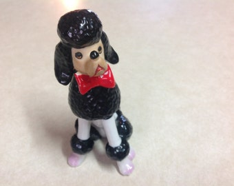"Vintage, vintage poodle statue, black and white china poodle, red bow, made in Japan 5"", poodle collectible, ceramicpoodle, ceramic animal"