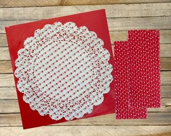 20 Red Polka Dot Doilies and 50 Red and White Polka Dot Straws, Valentine, Holiday, Birthday Party Supply