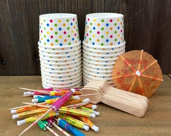 Mini Sundae Kit with 4 Ounce Polka Dot Paper Cups, Mini Wooden Taster Spoons and Paper Umbrellas- Birthday Party Supply- Paper Goods- 24  pk