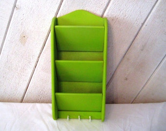 Lime green letter holder, letter organizer, key holder, office decor, memo holder