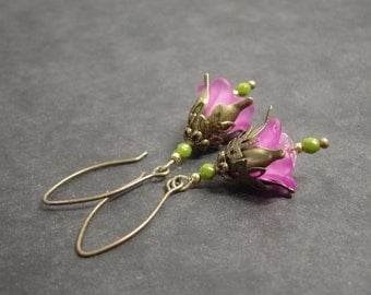 "Earrings ""Elf magic"" pink olive bronze"
