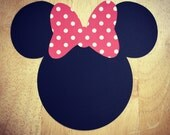 Minnie Mouse Cut Outs with Bows (Various Sizes and Colors Available)
