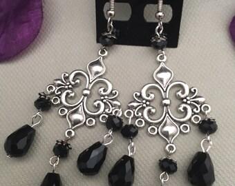 Black Crystal Earrings. Gift For Her, Crystal Earrings, Gothic Earrings, Silver Drop Earrings, Chandelier Earrings, Burlesque Jewelry.