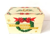 Metal Christmas Card File Box, Recipe Box, Christmas List Box, Vintage Christmas