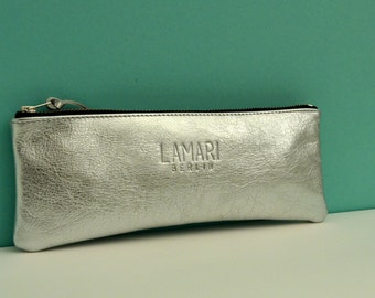Leather Cosmetic Bag Pencil Case JUNE Silver