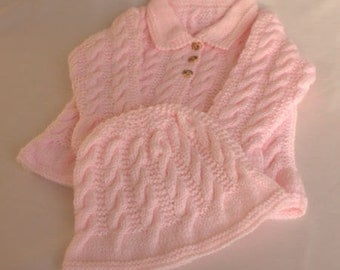 Pink Aran Cable Knit Jacket / Cardigan & Hat