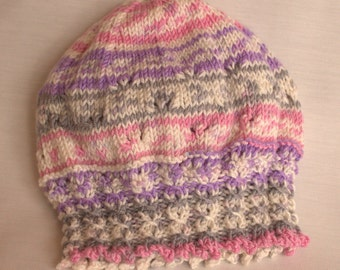 Girls knitted Multi Coloured Cable Knit Hat / Beret