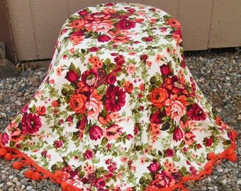 Vintage Cottage Chic Retro Floral Cabbage Roses and Spring Blooms Tassel Pom Poms Tablecloth 61 Inch Diameter Spring Tablecloth Tea Party