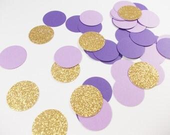 Lavender Purple & Gold Glitter Confetti, Party Circle Confetti, Party Decoration, 100 CT, Ships in 2-3 Business Days