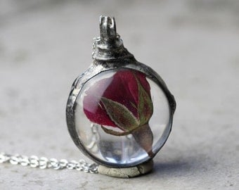 Rose Necklace Botanical Jewelry Soldered Glass Pendant Pressed Red Rose Terrarium Rosebud Spring Natural Woodland Jewelry Rustic