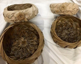 Hawaiian Handmade Palm Frond Baskets (Lot of 4)
