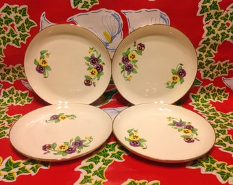 Vintage set of 4 Ridgewood Translucent China white plates with pansy designs