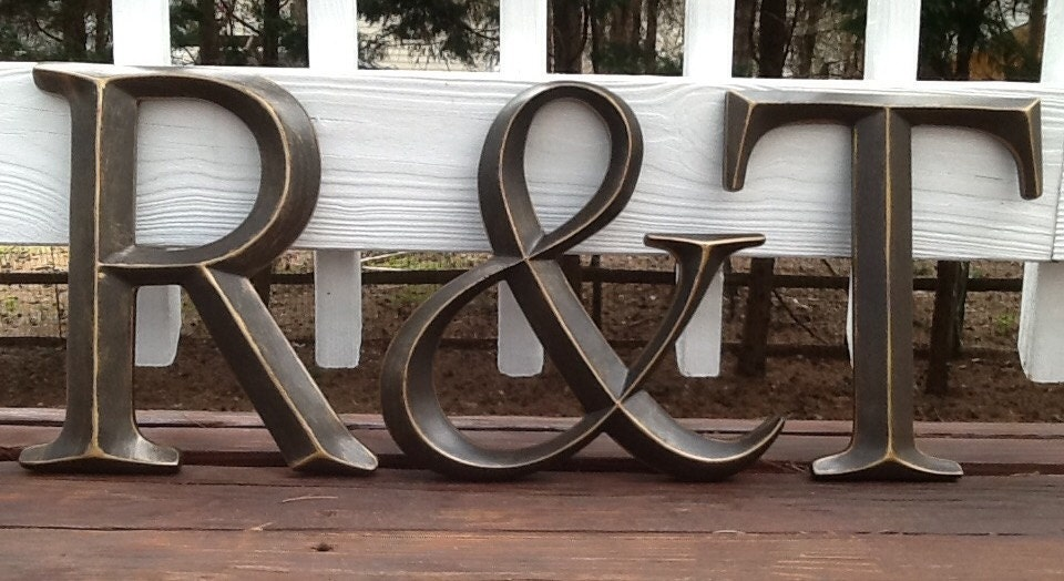 Oil rubbed bronze large initials and ampersand wall letters for Oil rubbed bronze letters