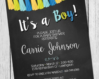Baby Boy Baby Shower Invitation Tassle Garland Baby Boy Shower Invitation Modern Baby Boy Shower Invite