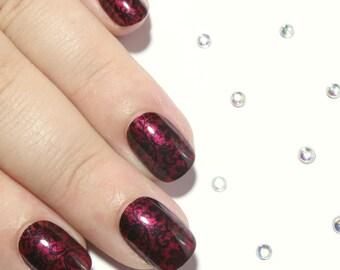 Red and Black Nails - Press On Nails - Nail Art Acrylic Nails - Glue On Nails - Hand Painted Nails - Short False Nails - Gothic Fake Nails
