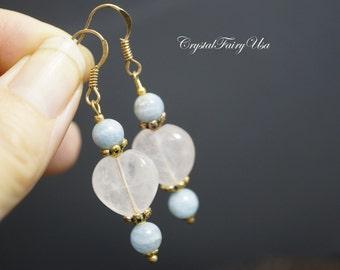 Rose Quartz Heart Earrings - Aquamarine Earrings -  Gold Dangle Earrings - Rose Quartz Stone Earrings -  Blue Aquamarine Handmade Earrings