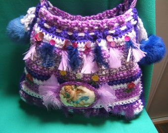 baroque wool crochet bag handmade 30cm X 35 cm