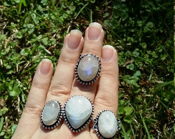 On sale. Moonstone rings, 4 styles to choose from.