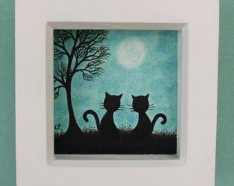Cat Picture, Cat Tree Moon, Framed Cat Art, Romantic Cat Picture, Two Cats, Love Gift, Cat Tree Moon Drawing, Romantic Art, Original Cat Art