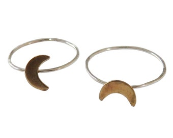 Moon Midi Ring; Sterling Silver;  Stacking Ring; Boho Ring; Celestial Ring