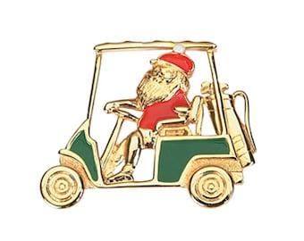 Santa's Golf Cart Christmas Pin