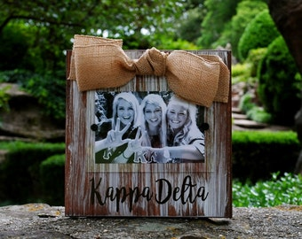 Kappa Delta Whitewashed Rustic Frame