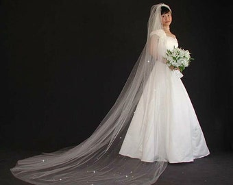 "Scattered Swarovski Crystal Rhinestones Wedding Veil - cathedral length 108"" long with plain edge"