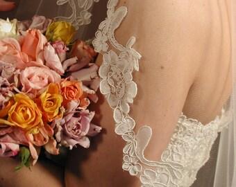 "Mantilla wedding veil. 42"" fingertip length bridal veil."