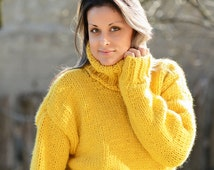 Hand Knitted pure Wool Sweater Yellow Soft Turtleneck Jumper Pullover Jersey by EXTRAVAGANTZA * READY to SHIP *