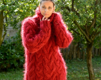 Hand Knit Mohair Sweater Cable RED color Fuzzy Turtleneck Jumper Pullover Jersey MADE to ORDER - by Extravagantza