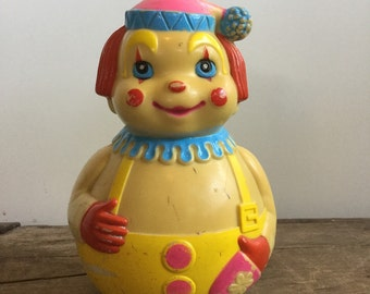 Vintage Happy Clown Plastic Toy First Years Kiddie Products