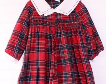 Vintage Christmas girls dress. Red plaid smocked dress, Rosey Kids sz 4T