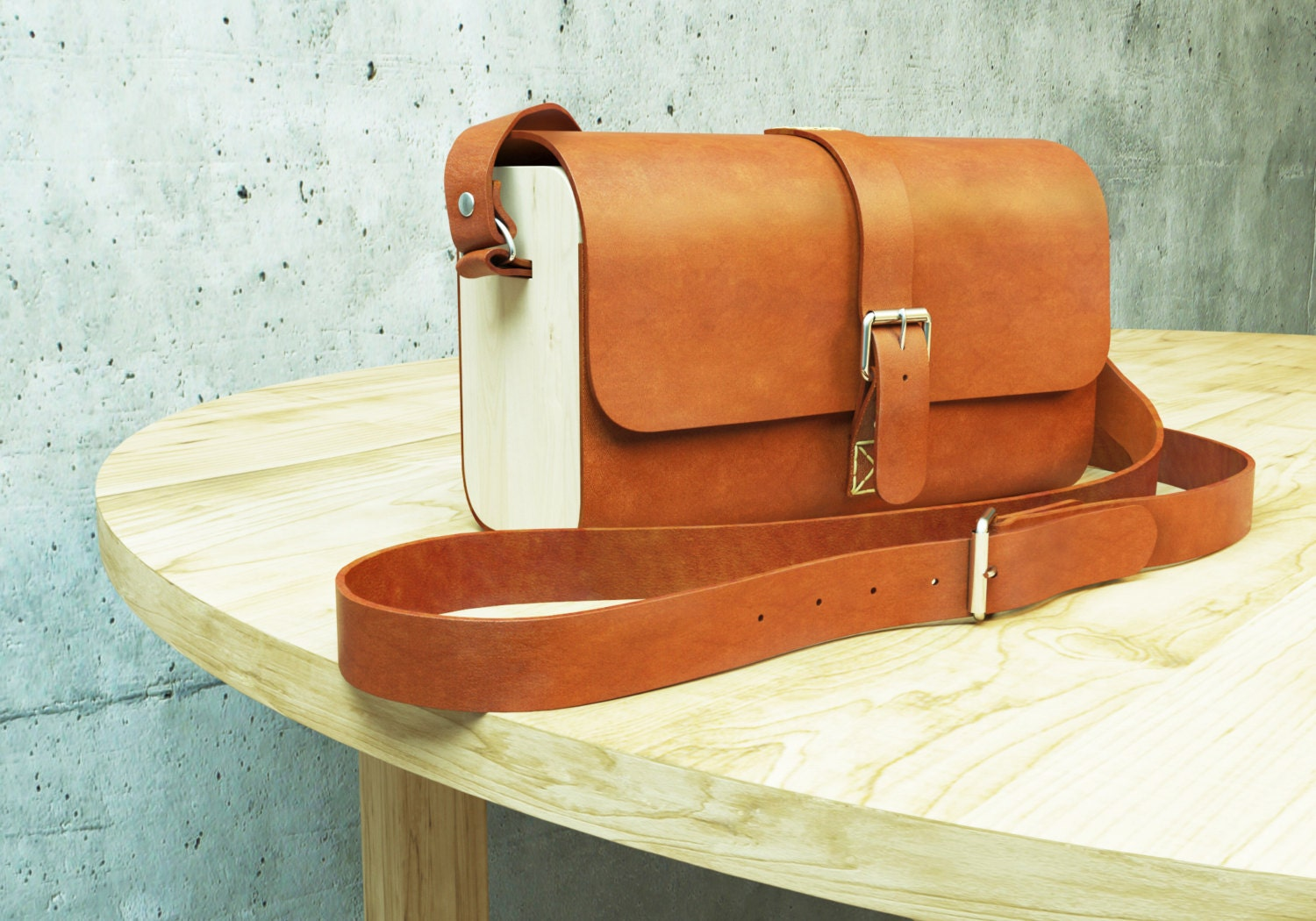 Wood & Leather Bag NATURE Leather Purse Woodbag Wooden