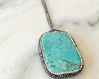 Bling Rhinestone Turquoise Pendant Necklace