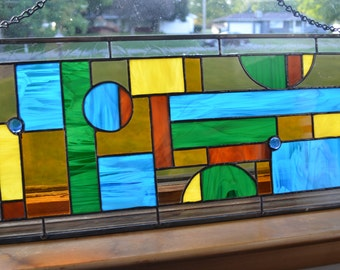 Large Stained Glass Panel Handmade Abstract Geometric Zinc Came Frame  FUNKY Masculine Man Cave Blue Gold Green