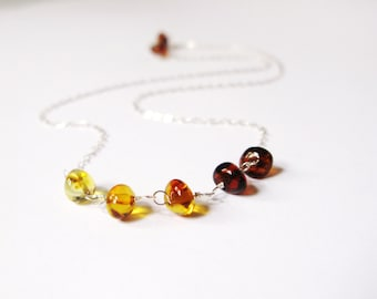 Delicate amber necklace-dainty baltic amber choker-omber amber choker-amber sterling silver chain necklace