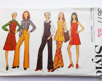 Style vintage sewing pattern, size 10, Style 3677, 1972's dress, tunic, trouser and blouse pattern, sewing supplies, Style vintage.