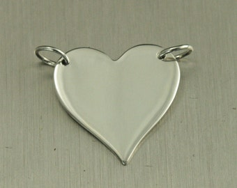 Sterling Silver Large Heart Link Blank Charm--Heart Festoon--Stamping Blank Heart Link--Love Link--Blank Heart--Plain Heart--Festoon Charm