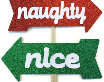 Christmas Photo Booth Props- 2 Piece Set- Holiday Photo Booth with Glitter - Naughty or Nice  Photo Booth Prop Set