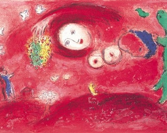 MARC CHAGALL - 'The arrival of spring' - vintage offset lithograph - c1977 (George Braziller, Germany)