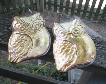 Pair Of Glass Owl Dishes, Gold Backing On Clear Glass, Copper Look Backside, Vintage Owls,