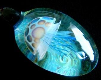 LARGE Flat Jellyfish Pendant - Smokey Blue - Weelainy Lampworked Glass - Boro Borosilicate (Q13)